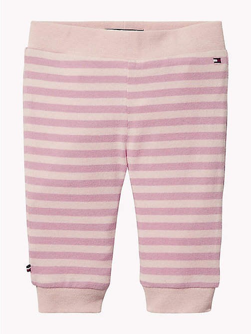 TOMMY HILFIGER Gestreepte babybroek - STRAWBERRY CREAM/BLUSH - TOMMY HILFIGER Meisjes - main image