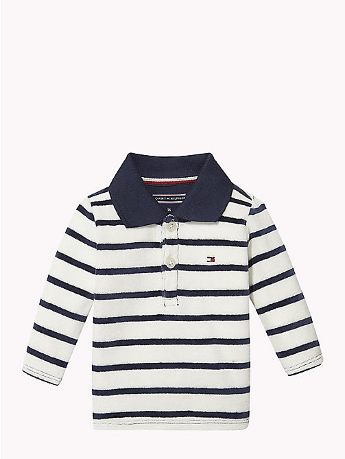 TOMMY HILFIGER Baby Stripe Velour Polo - BLACK IRIS - TOMMY HILFIGER Boys - main image