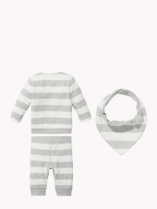 TOMMY HILFIGER Baby Stripe Three-Piece Gift Set - GREY HEATHER - TOMMY HILFIGER Boys - detail image 1