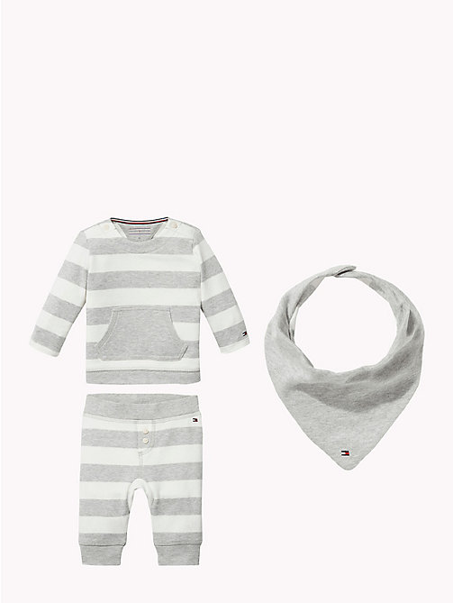 TOMMY HILFIGER Baby Stripe Three-Piece Gift Set - GREY HEATHER - TOMMY HILFIGER Babies - main image