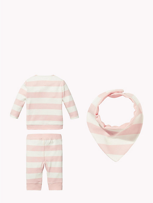 TOMMY HILFIGER Baby Stripe Three-Piece Gift Set - STRAWBERRY CREAM - TOMMY HILFIGER Girls - detail image 1