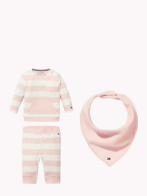 TOMMY HILFIGER Baby Stripe Three-Piece Gift Set - STRAWBERRY CREAM - TOMMY HILFIGER Girls - main image
