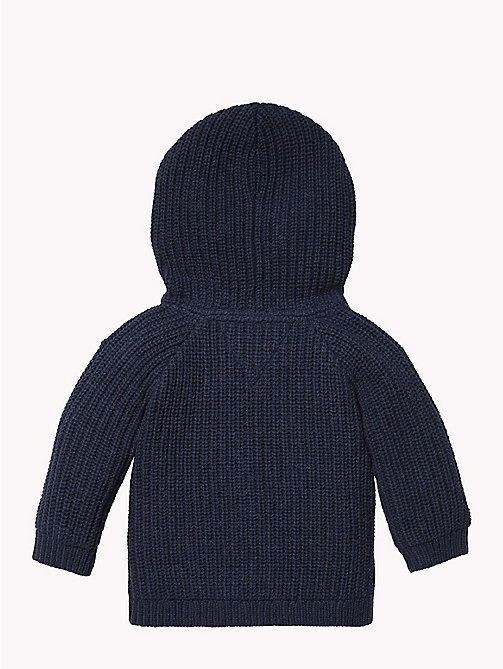 TOMMY HILFIGER Baby Textured Hooded Cardigan - BLACK IRIS - TOMMY HILFIGER Girls - detail image 1