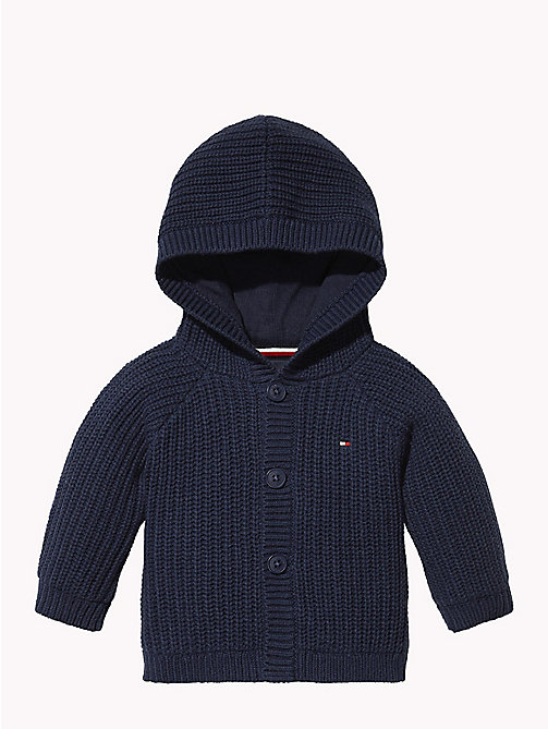 TOMMY HILFIGER Baby Textured Hooded Cardigan - BLACK IRIS - TOMMY HILFIGER Girls - main image