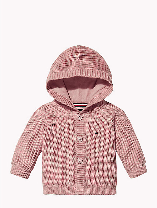 TOMMY HILFIGER Baby Textured Hooded Cardigan - BLUSH -  Babies - main image