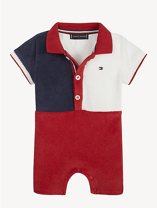 TOMMY HILFIGER Baby Flag Polo Romper - APPLE RED/MULTI - TOMMY HILFIGER Boys - main image