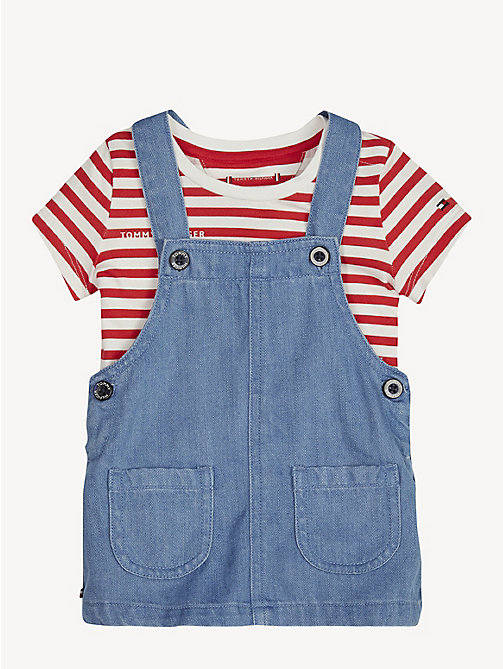 TOMMY HILFIGER Baby Dungaree Dress Set - REDDING LIGHT - TOMMY HILFIGER Girls - main image