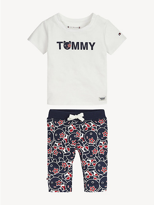 TOMMY HILFIGER Baby Mascot Top And Jogger Set - BRIGHT WHITE / BLACK IRIS - TOMMY HILFIGER Boys - main image