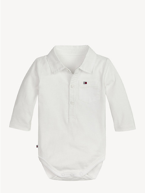 TOMMY HILFIGER Baby Collar Bodysuit - BRIGHT WHITE - TOMMY HILFIGER Boys - main image