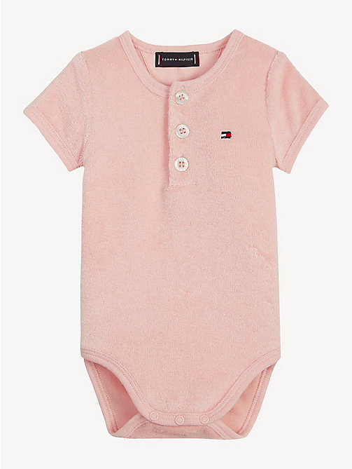 TOMMY HILFIGER Baby Towelling Bodysuit - STRAWBERRY CREAM - TOMMY HILFIGER Girls - main image