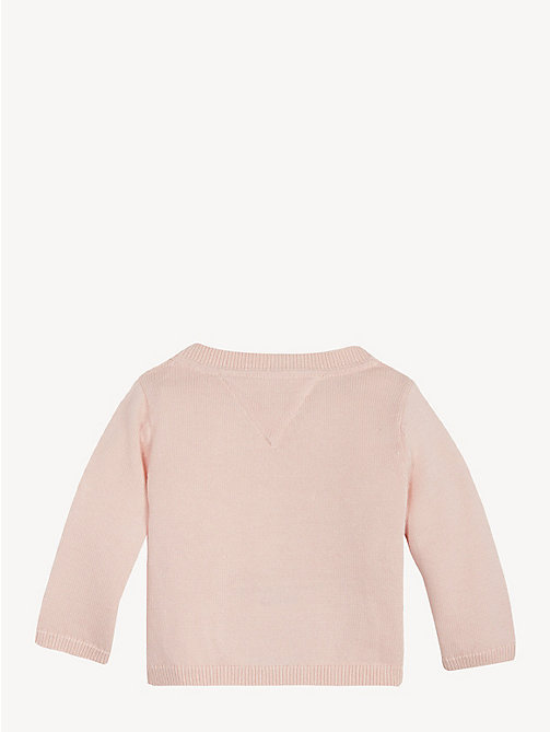 TOMMY HILFIGER Baby Textured Knit Cardigan - STRAWBERRY CREAM - TOMMY HILFIGER Girls - detail image 1
