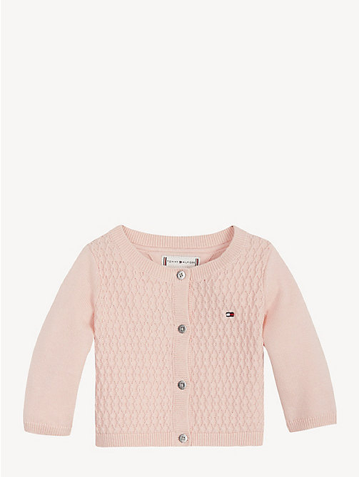 TOMMY HILFIGER Baby Textured Knit Cardigan - STRAWBERRY CREAM - TOMMY HILFIGER Girls - main image