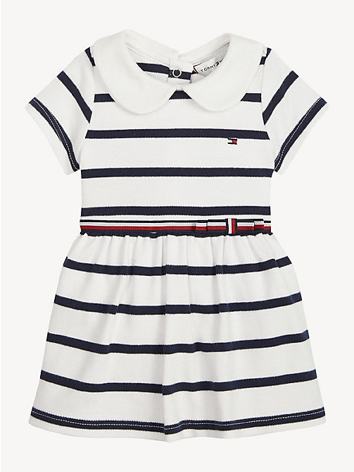 TOMMY HILFIGER Baby Rugby Stripe Cotton Dress - BLACK IRIS / BRIGHT WHITE - TOMMY HILFIGER Girls - main image