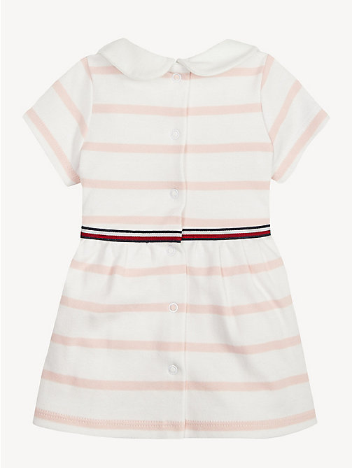 TOMMY HILFIGER Baby Rugby Stripe Cotton Dress - STRAWBERRY CREAM/BRIGHT WHITE - TOMMY HILFIGER Girls - detail image 1