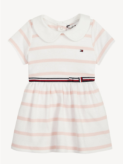 TOMMY HILFIGER Baby Rugby Stripe Cotton Dress - STRAWBERRY CREAM/BRIGHT WHITE - TOMMY HILFIGER Girls - main image