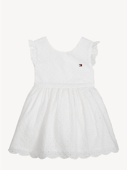 TOMMY HILFIGER Baby Broderie Cotten Dress - BRIGHT WHITE - TOMMY HILFIGER Girls - main image