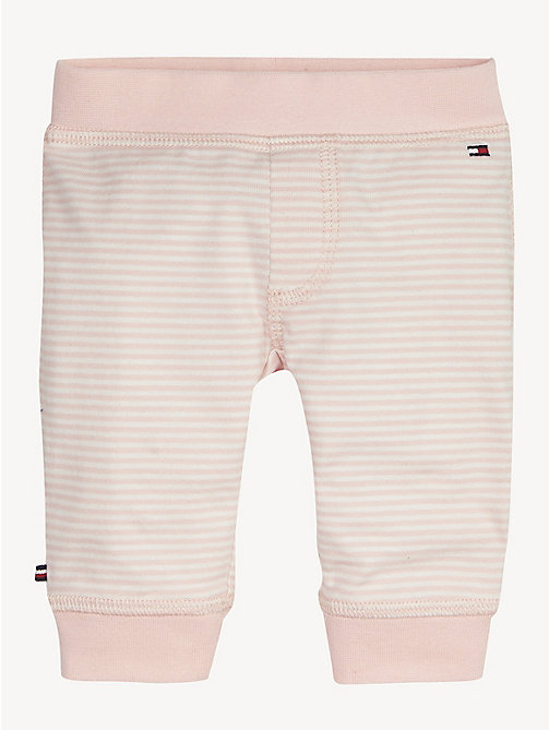 TOMMY HILFIGER Stripe Cotton Baby Bottoms - STRAWBERRY CREAM/BRIGHT WHITE - TOMMY HILFIGER Girls - main image