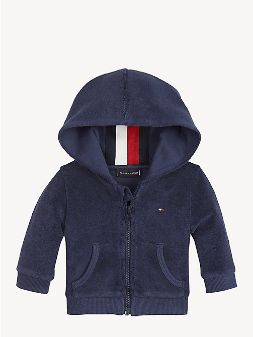 TOMMY HILFIGER Baby Towelling Hoody - BLACK IRIS - TOMMY HILFIGER Boys - main image