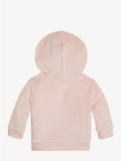 TOMMY HILFIGER Baby Towelling Hoody - STRAWBERRY CREAM - TOMMY HILFIGER Girls - detail image 1