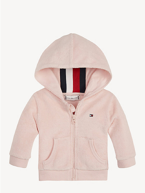 TOMMY HILFIGER Baby Towelling Hoody - STRAWBERRY CREAM - TOMMY HILFIGER Girls - main image