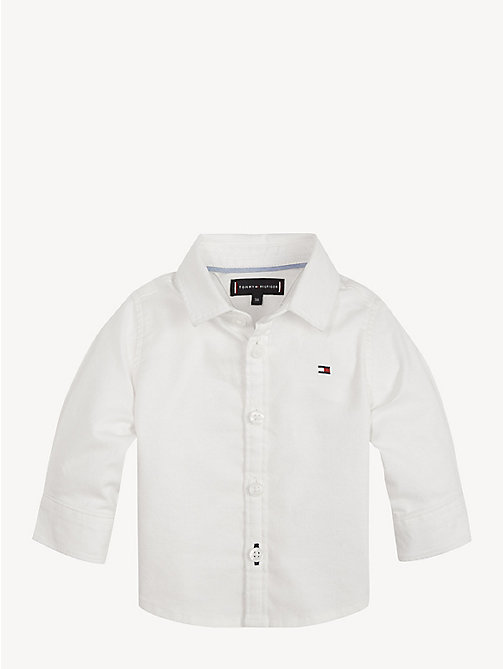 TOMMY HILFIGER Baby Cotton Blend Oxford Shirt - BRIGHT WHITE - TOMMY HILFIGER Boys - main image