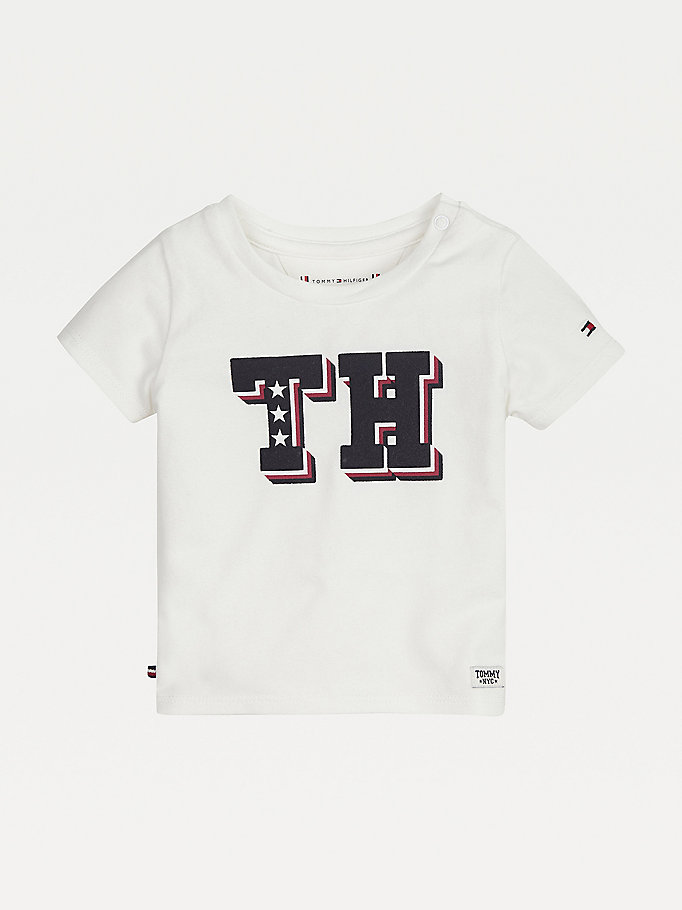 white monogram logo t-shirt for newborn tommy hilfiger