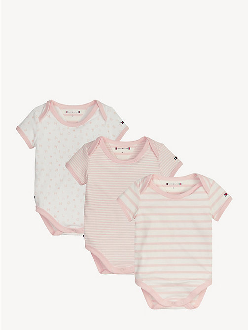 TOMMY HILFIGER Babycadeaubox met 3 rompers - STRAWBERRY CREAM/BRIGHT WHITE - TOMMY HILFIGER Jongens - main image
