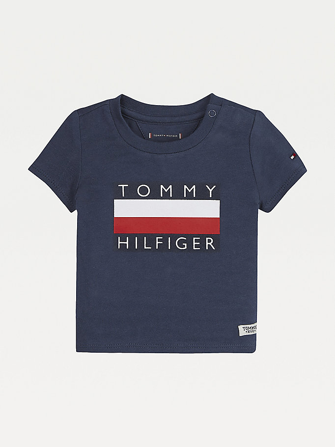 blue baby logo t-shirt for newborn tommy hilfiger