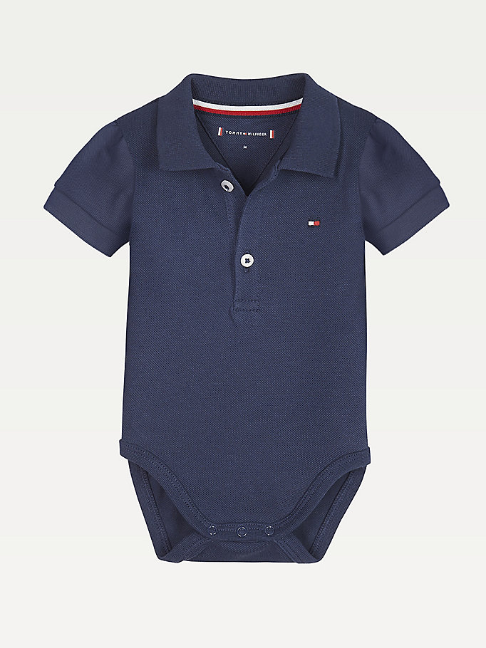 blue cotton polo body giftbox for newborn tommy hilfiger