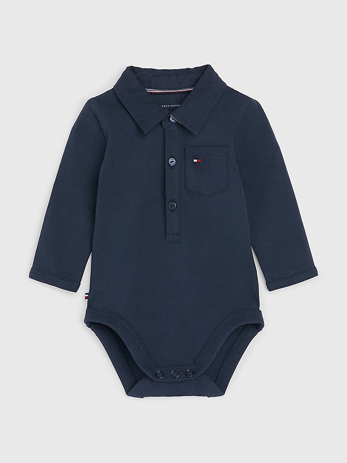 blue organic cotton polo bodysuit for newborn tommy hilfiger
