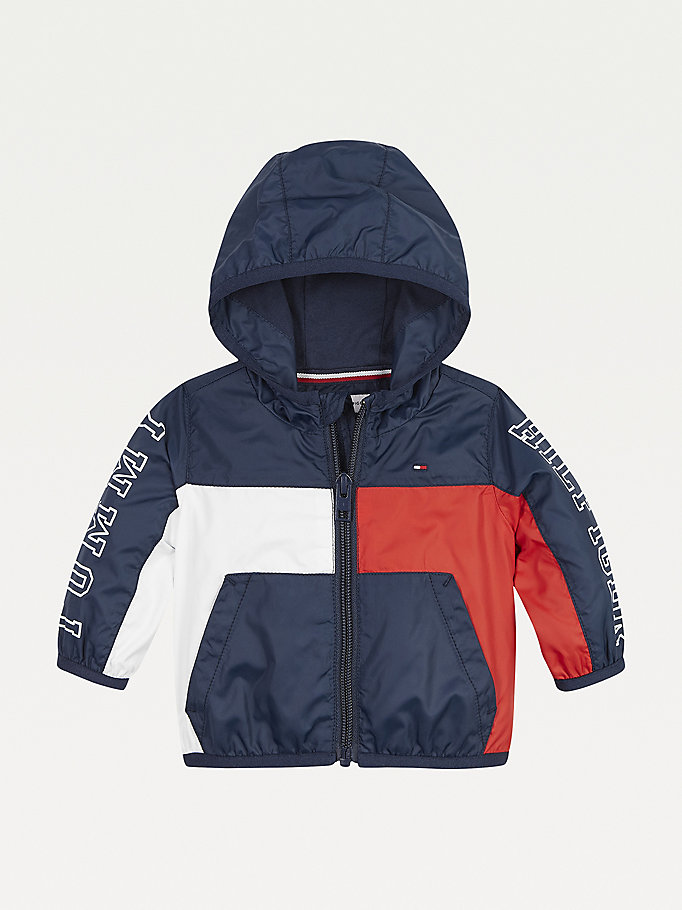 blue colour-blocked hooded jacket for newborn tommy hilfiger