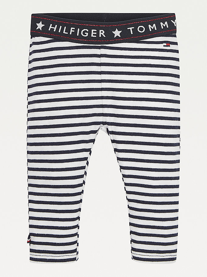 blue stripe organic cotton leggings for newborn tommy hilfiger