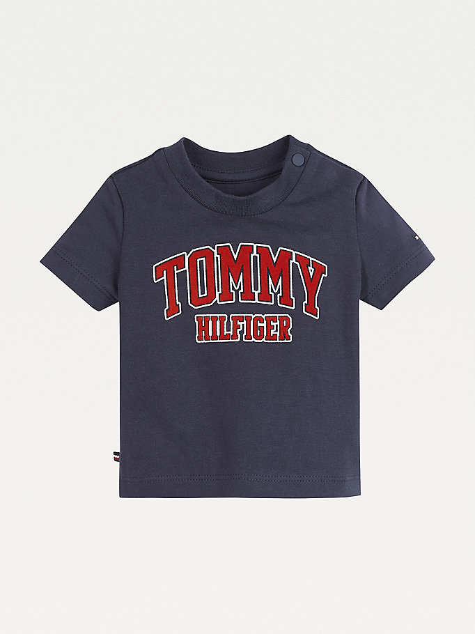 blue organic cotton logo t-shirt for newborn tommy hilfiger