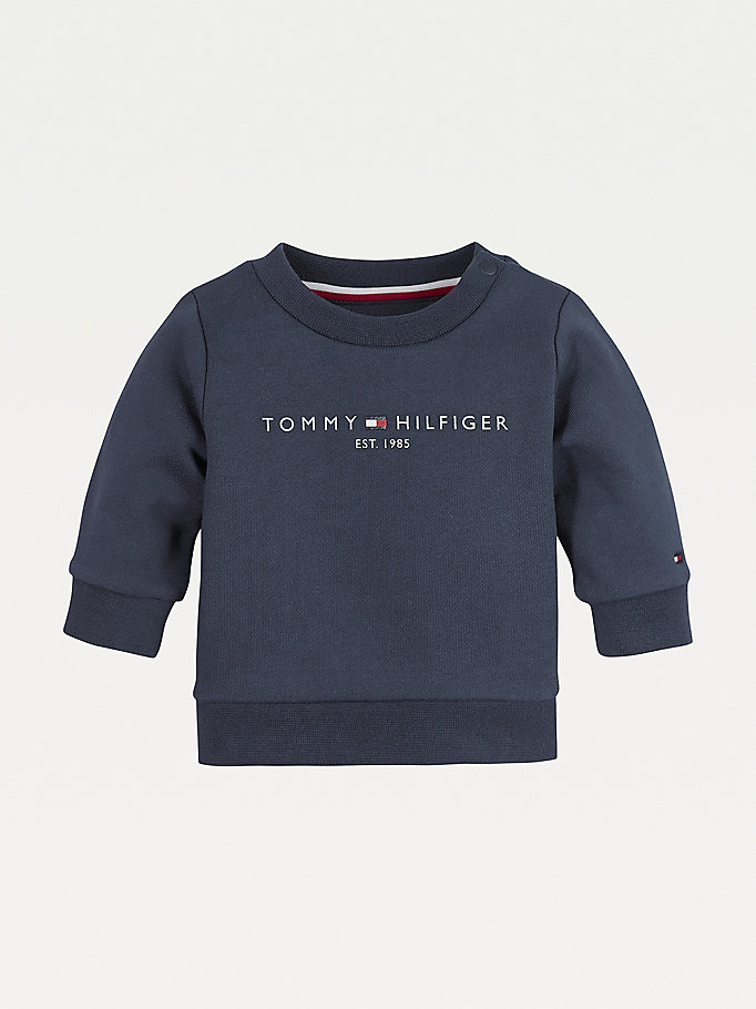 blue essential organic cotton sweatshirt for newborn tommy hilfiger