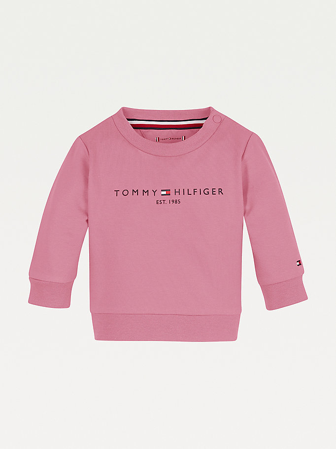pink essential organic cotton sweatshirt for newborn tommy hilfiger
