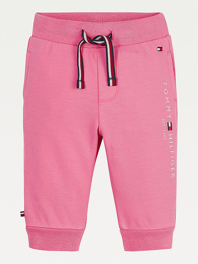 pink essential organic cotton joggers for newborn tommy hilfiger