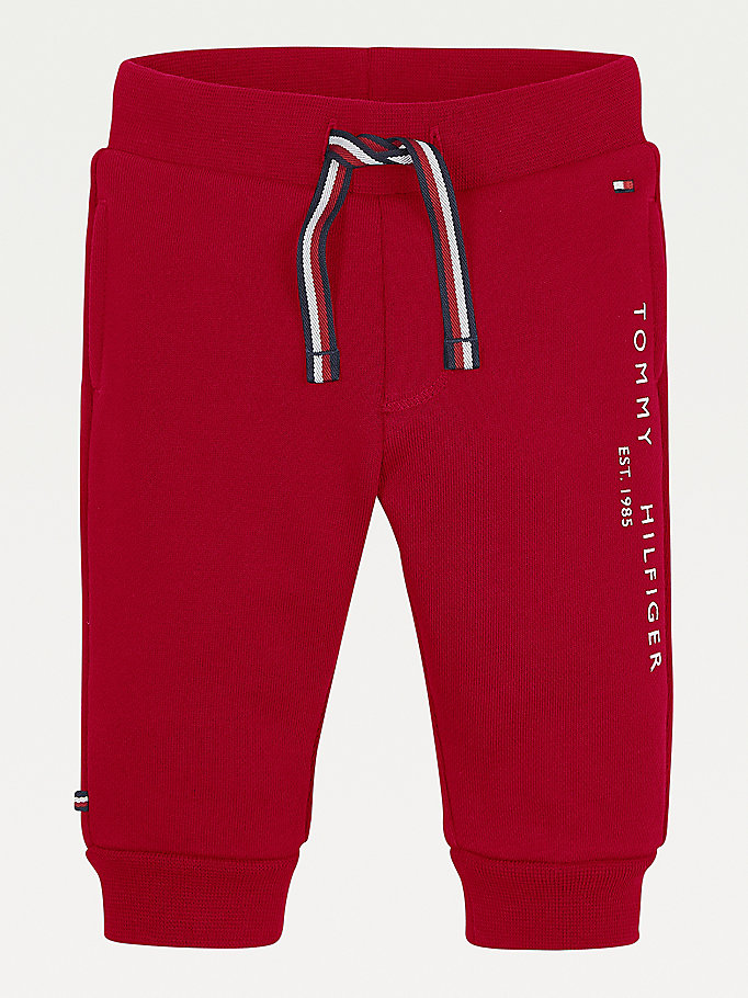 red essential organic cotton joggers for newborn tommy hilfiger