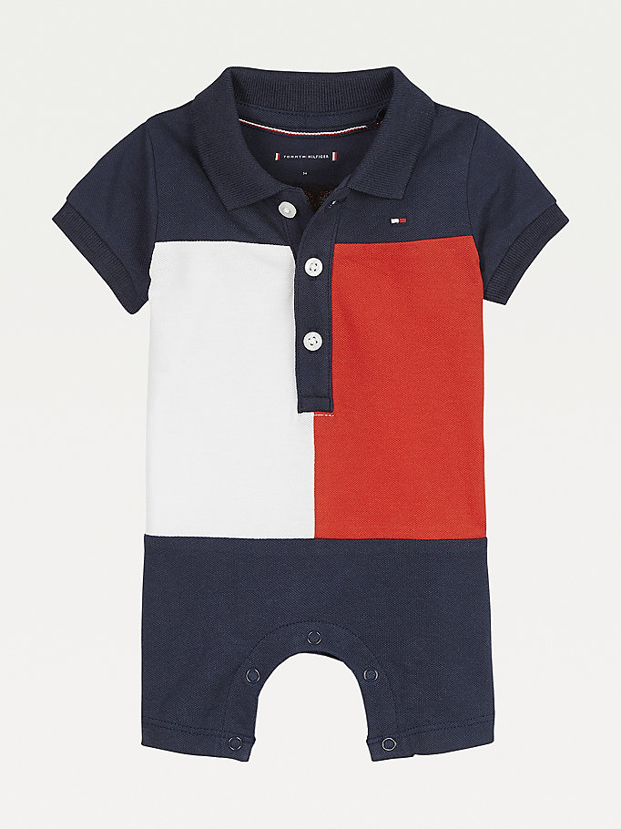 blue polo romper for newborn tommy hilfiger