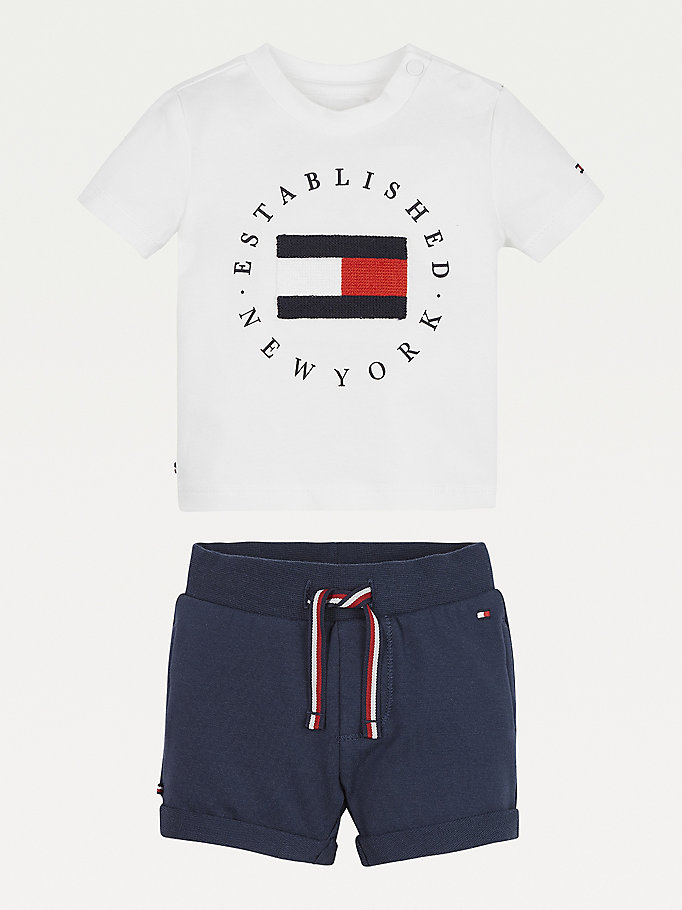 white t-shirt and shorts set for newborn tommy hilfiger