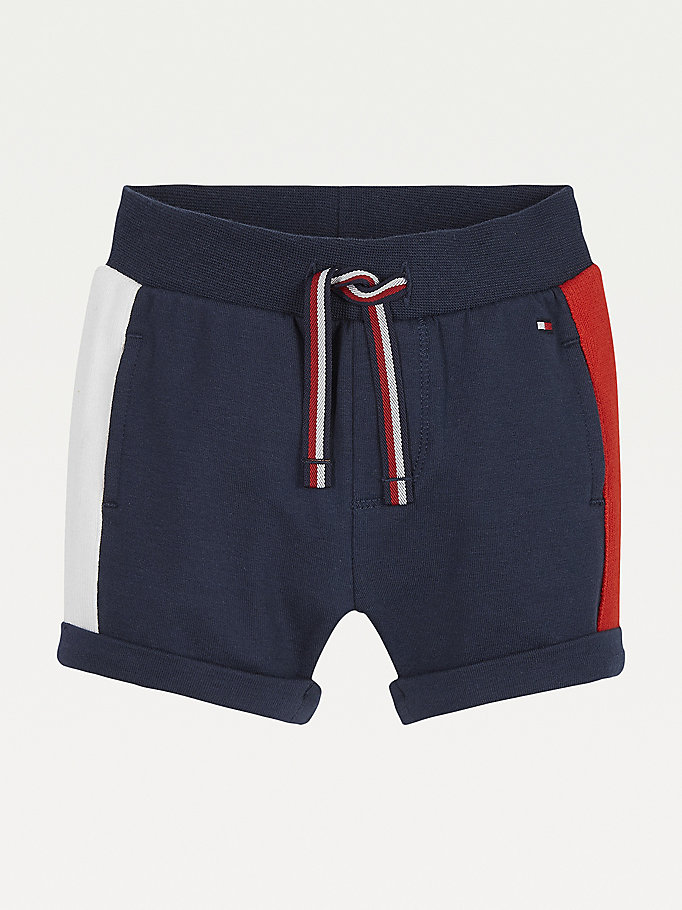 blue signature drawstring sweat shorts for newborn tommy hilfiger