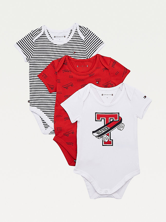 red three-pack packable short sleeve bodysuits for newborn tommy hilfiger