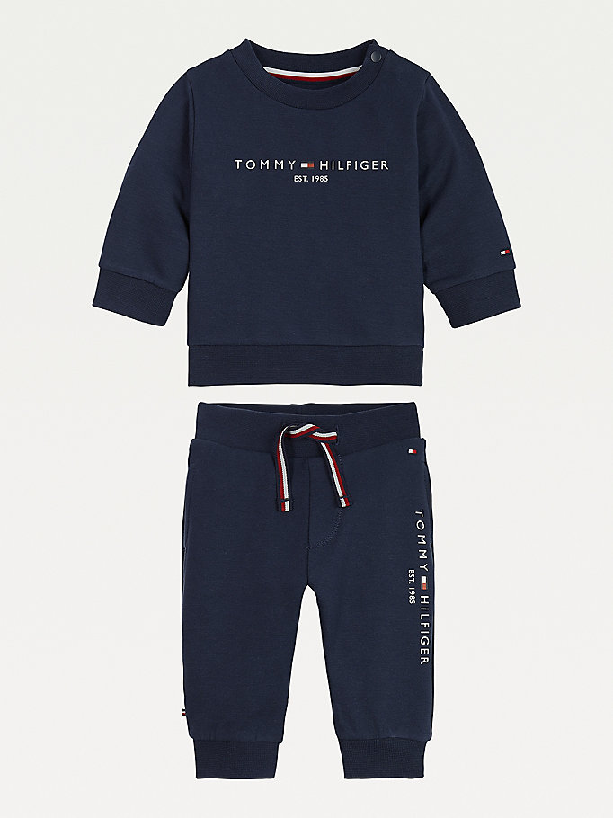 blue essential organic cotton joggers set for newborn tommy hilfiger