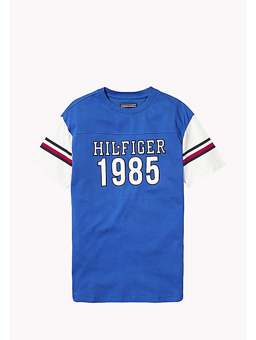 TOMMY HILFIGER T-shirt 1985 z sygnowanymi paskami - NAUTICAL BLUE - TOMMY HILFIGER Topy i T-shirty - main image