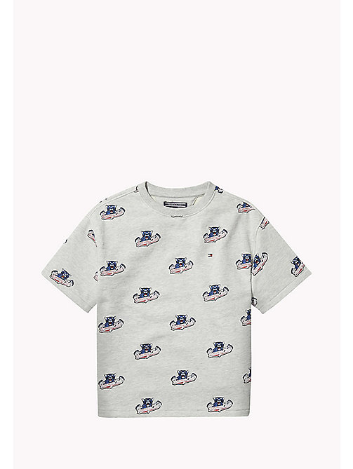 TOMMY HILFIGER UNISEX SHORT SLEEVED SWEATSHIRT S/S - LIGHT GREY HTR/MULTI - TOMMY HILFIGER Sweatshirts & Hoodies - main image