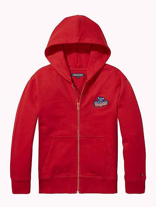 TOMMY HILFIGER UNISEX BADGE ZIP HOODIE - APPLE RED - TOMMY HILFIGER Sweatshirts & Hoodies - detail image 1