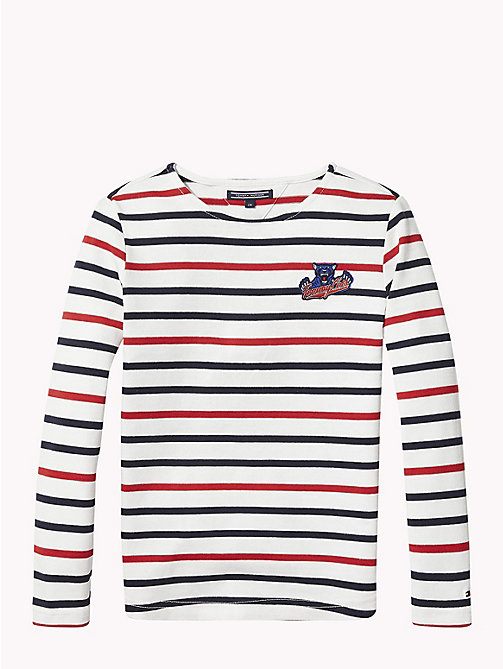 TOMMY HILFIGER Tommy Cats Stripe Top - BRIGHT WHITE / MULTI - TOMMY HILFIGER Tops & T-shirts - detail image 1