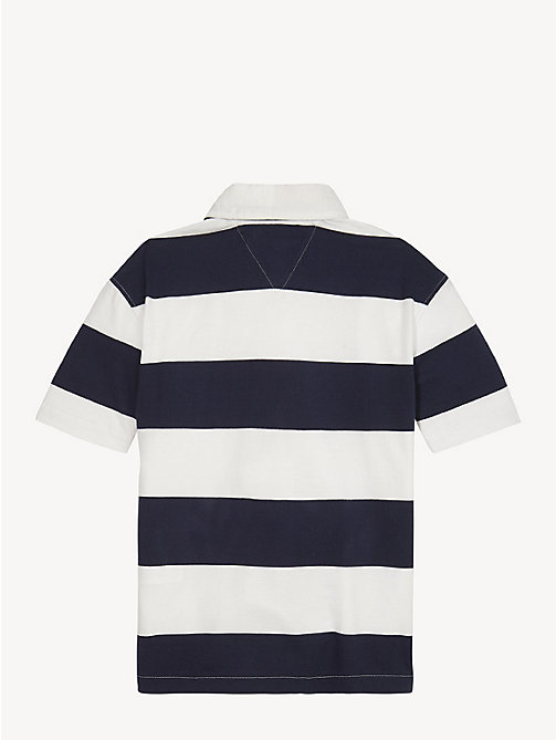 TOMMY HILFIGER Pure Cotton Unisex Rugby Shirt - BLACK IRIS / BRIGHT WHITE - TOMMY HILFIGER Tops & T-shirts - detail image 1