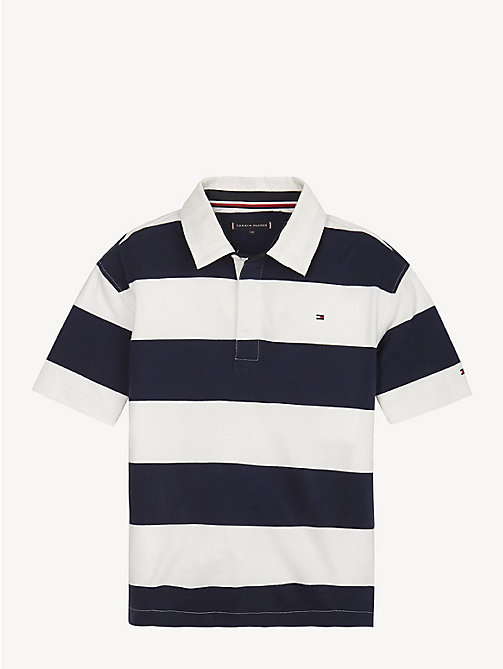 TOMMY HILFIGER Pure Cotton Unisex Rugby Shirt - BLACK IRIS / BRIGHT WHITE - TOMMY HILFIGER Tops & T-shirts - main image
