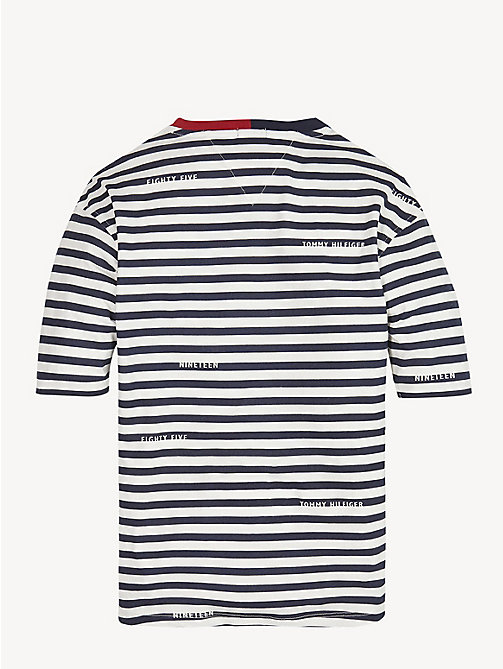 TOMMY HILFIGER Organic Cotton Stripe T-Shirt - BLACK IRIS / BRIGHT WHITE - TOMMY HILFIGER Tops & T-shirts - detail image 1