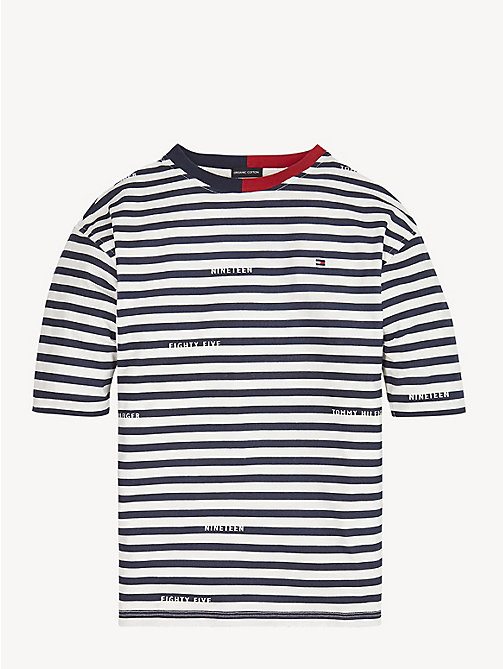 TOMMY HILFIGER Organic Cotton Stripe T-Shirt - BLACK IRIS / BRIGHT WHITE - TOMMY HILFIGER Tops & T-shirts - main image